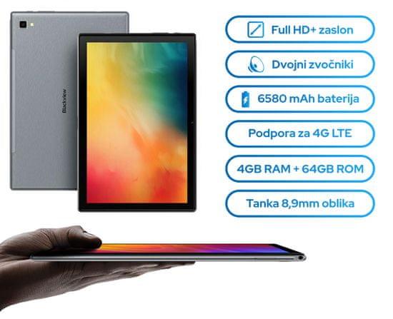 iGET Blackview Tab 8 tablični računalnik, 10.1, 4G-LTE, 4GB/64GB, Android 10, srebrn