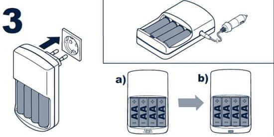 Varta avtomobilski polnilnik baterij Mobile Charger + 4 AA 2100mAh R2U, 12V 57033201451