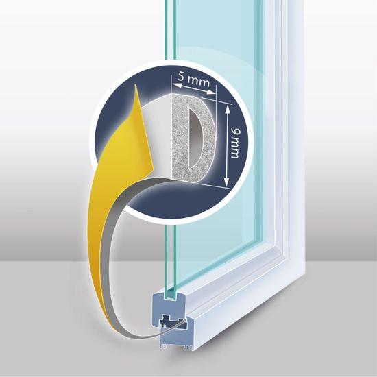 """Delight Samolepilni tesnilni trak za vrata / okna - profil """"D"""" - 100 m, bel 9 mm"""