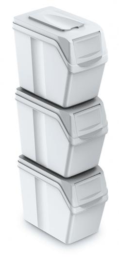Aga szemetes kukák SORTIBOX 3x25l Fehér