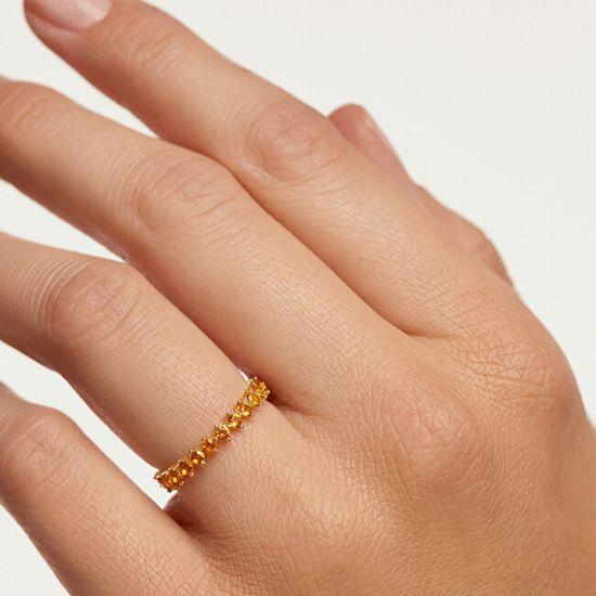 PDPAOLA Delikatny pozłacany pierścionek z cyrkoniami YELLOW BIRDGold AN01-134 srebro 925/1000