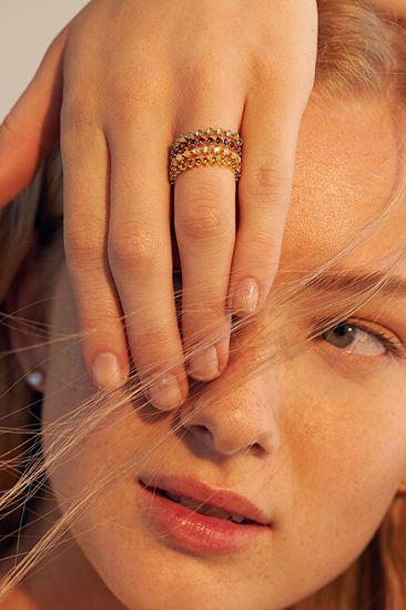 PDPAOLA Delikatny pozłacany pierścionek z cyrkoniami VIOLET BIRDGold AN01-136 srebro 925/1000