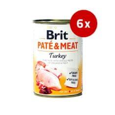 Brit pate s koščki mesa, puran, 400 g, 6 kos
