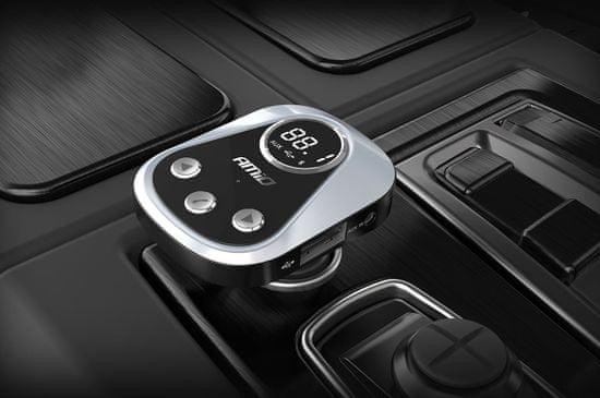 AMIO Bluetooth 5.0 FM oddajnik s polnilnikom 2,4A + APP Lokacija avtomobila, preizkus baterije