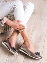 Exkluzívní hnědé baleríny dámské bez podpatku, odstíny hnědé a béžové, 37