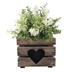 AMADEA Dřevěný obal na květináč se srdcem tmavý, 17x17x15cm Český výrobek