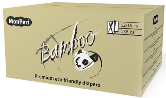 MonPeri Bamboo Mega Pack XL, 12-16 kg (136 ks)