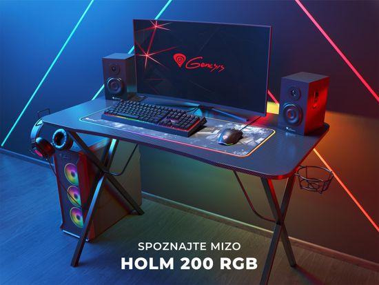 Genesis Holm 200 RGB gaming miza, 3x USB 3.0