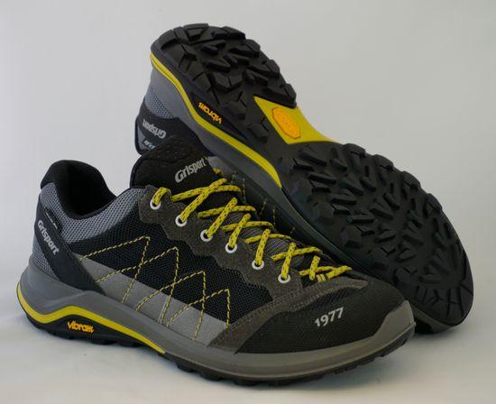 Grisport 14301 nizki treking čevlji, črno/sivi z rumenimi okrasnimi deli