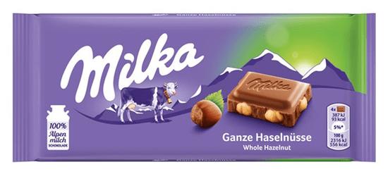 MILKA čokoláda celé oriešky 100g (bal. 17ks)