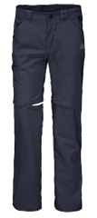 Jack Wolfskin spodnie chłopięce z odpinanymi nogawkami Safari Zip Off Pants Kids 1605871, 128 ciemnoniebieskie