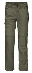 Jack Wolfskin spodnie dziecięce z odpinanymi nogawkami Safari Zip Off Pants Kids 1605871_1, 128 khaki