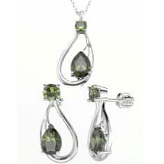 A-B Sada strieborných šperkov Aphrodite s prírodnými vltavínmi 20000054