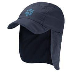 Jack Wolfskin Supplex Canyon Cap Kids 1905901 fantovska kapa z zaščito za vrat in UV zaščito, S, temno modra