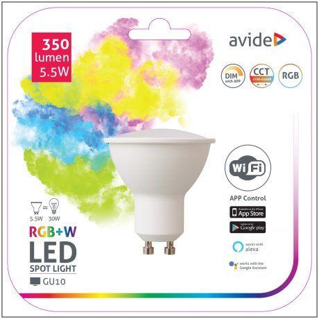 Avide SMART LED sijalka GU10 5.5W RGB+W WiFi APP