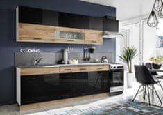 Nejlevnější nábytek Kuchyně LISENSEN 280, dub wotan/černý lesk