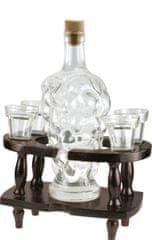 MPM QUALITY Skleněná láhev na likér se 4 skleničkami v dřevěném podstavci.