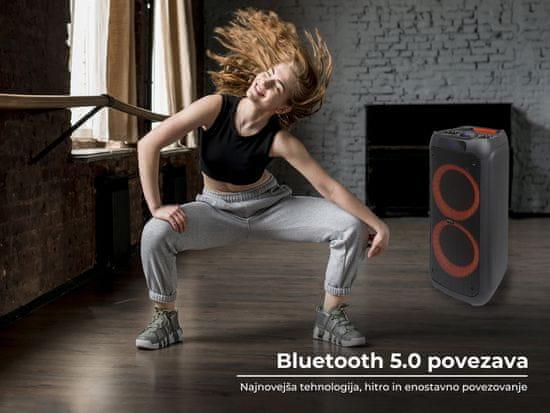 Manta SPK5310 PRO zvočnik, karaoke, vgrajena baterija, Bluetoth, USB, MP3, FM, disco LED, TWS, 10000W P.M.P.O.