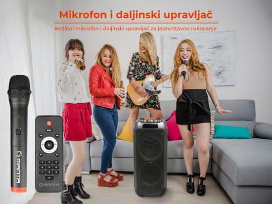 Manta SPK5310 PRO zvučnik, karaoke, ugrađena baterija, Bluetooth, USB, MP3, FM, disko LED, TWS, 10000 W P.M.P.O.