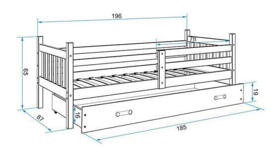 Furnitura Postelja CARINO 190x80 s predalom + GRATIS ležišče GRAFIT + MODRA