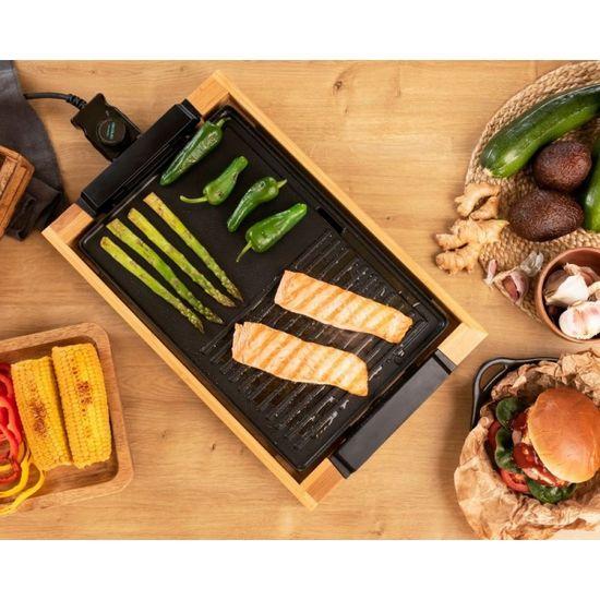 Cecotec Tasty&Grill 2000 električni žar, črn/bambus