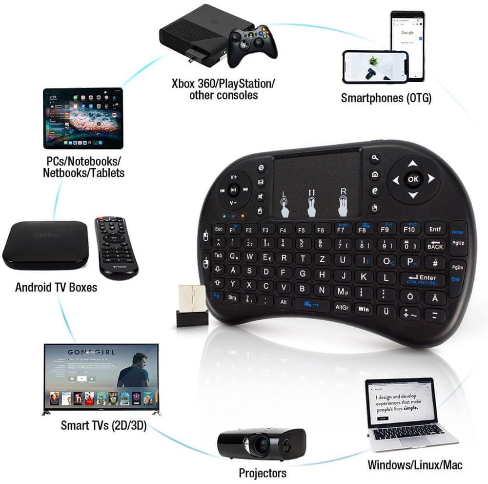Fantec WK-200, bezdrátová mini klávesnice k TV