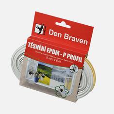 Den Braven Těsnicí profil z EPDM pryže, P profil, 9 mm x 5,5 mm x 6 m, bílý