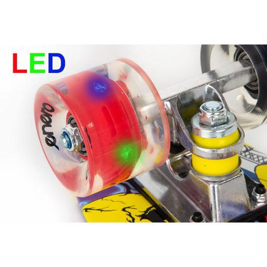 Enero Pennyboard deska 56 cm z LED kolesi, JOKER S-128
