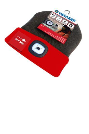 Velamp čepice CAP15 s LED světlem červeno-černá
