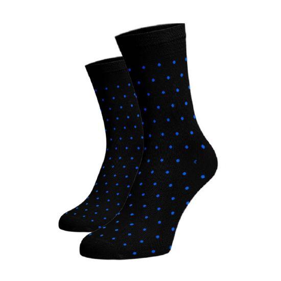 BENAMI Vysoké puntíkované ponožky - modrý Černá Bavlna 42-44