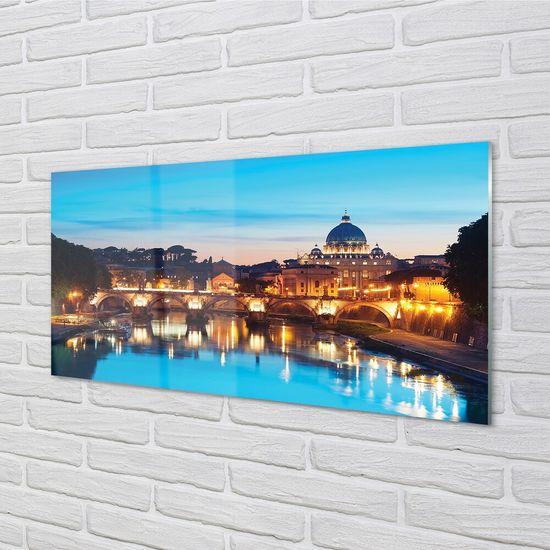 tulup.cz Sklenený obraz Rím západu slnka riečne mosty 100x50cm