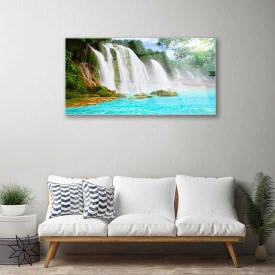 tulup.cz Skleneny obraz Vodopád jazero príroda 120x60cm