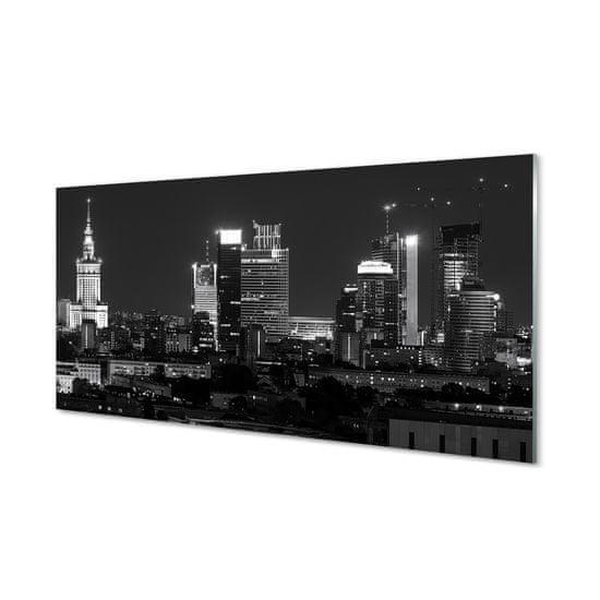 tulup.cz Sklenený obraz Nočná panoráma Varšavy mrakodrapov 100x50cm