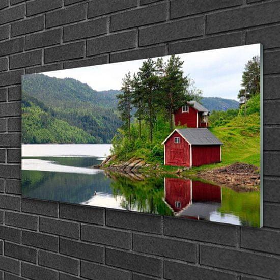 tulup.cz Obraz na akrylátovom skle Hory dom jazero príroda 120x60cm