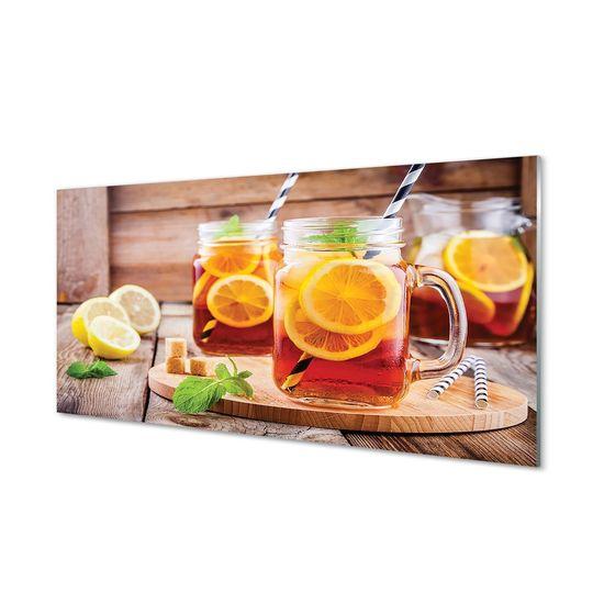 tulup.cz Obraz na skle Ice Tea citrusové slamky 120x60cm