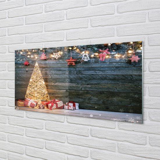 tulup.cz Sklenený obraz Darčeky Vianočný strom dekorácie dosky 100x50cm
