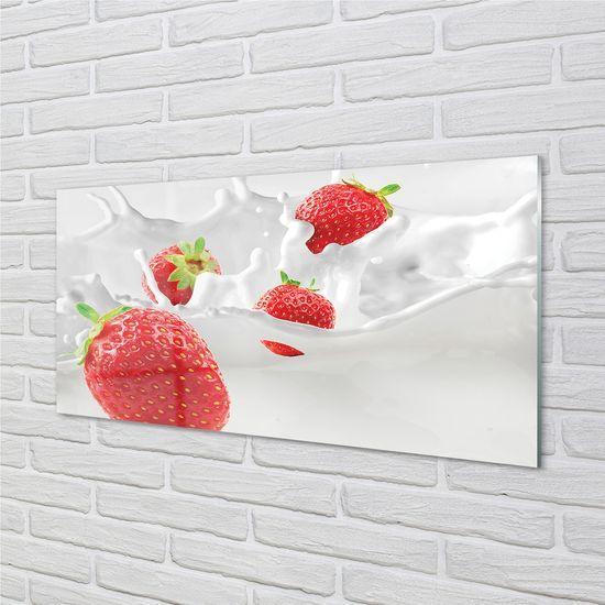 tulup.cz Sklenený obklad do kuchyne jahodové mlieko 120x60cm