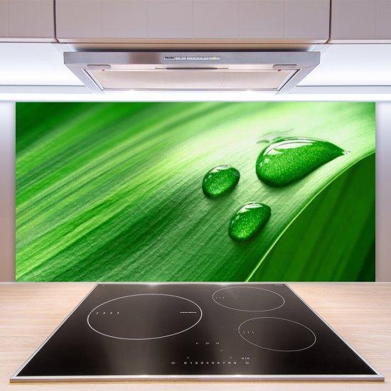 tulup.si Stenska plošča za kuhinjo Leaf water drops