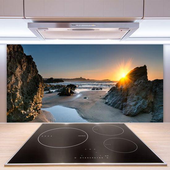 tulup.si Zidna obloga za kuhinju Rock beach sun landscape