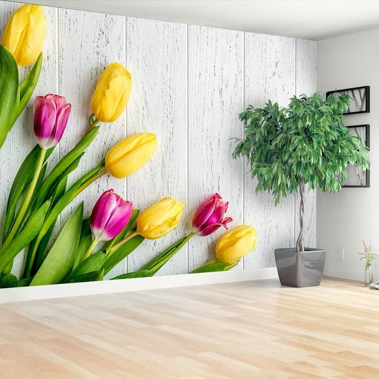 tulup.si Stenska fototapeta Rumena tulipani