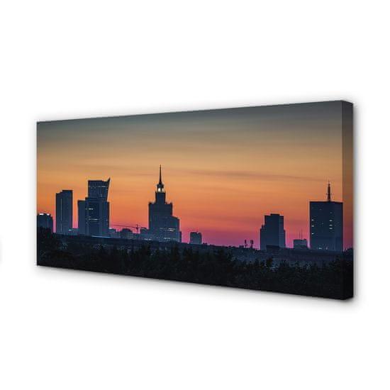 tulup.cz Obraz na plátne Sunset panorama Varšavy 125x50cm