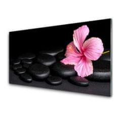 tulup.hu Konyhai üveg fali panel Black Stone Flower 125x50cm