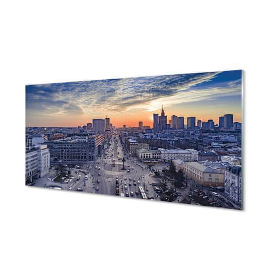 tulup.cz Sklenený obraz Varšava mrakodrapy Sunset 125x50cm