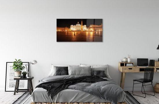 tulup.cz Sklenený obraz Rome Basilica Square v noci 120x60cm