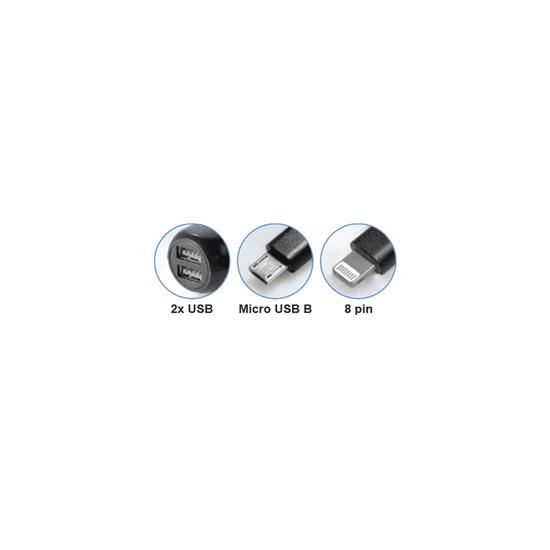 MaxTrack Polnilec za avto WI 11 USB-B/8-pin