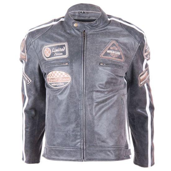 BOS Kožená moto bunda BOS 2058 Vintage Grey Velikost: Barva šedá, Velikost S