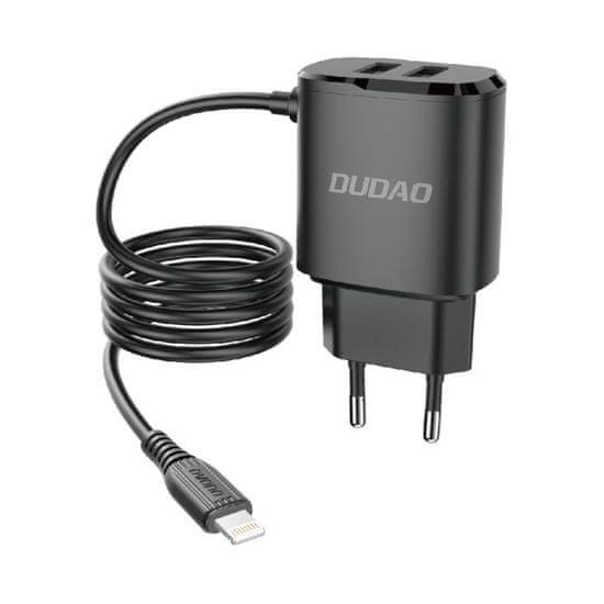DUDAO A2ProL 2x USB síťová nabíječka s Lightning káblom 12W, černá