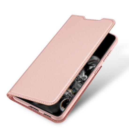 Dux Ducis Skin Pro knižkové kožené puzdro na Samsung Galaxy S21 Ultra 5G, ružové