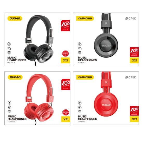 DUDAO X21 Wired slušalke na glavi, črna