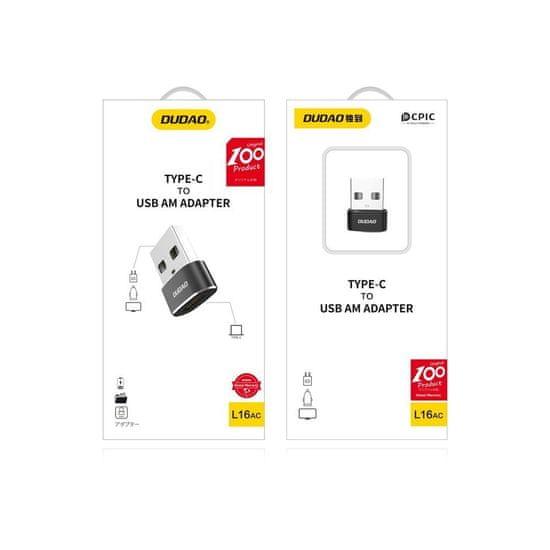 DUDAO L16AC adapter USB-C / USB, črna